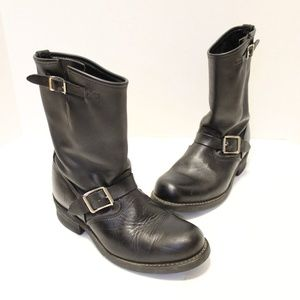 Frye Biltrite Leather Motorcycle Boots Buckle